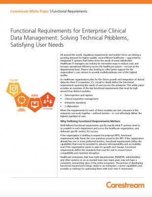 Functional Requirements for Enterprise Clinical Data Management