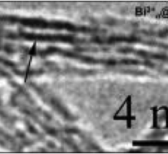 An electron microscope image shows bismuth ions (dark lines) sitting inside carbon nanotubes.
